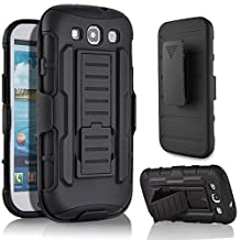 Galaxy S3 Case,Stanlance Swivel Belt Clip Holster Shell Cover with Kickstand [MILITARY GRADE] Heavy Duty Sturdy Rubber Armor Case for Samsung Galaxy S3