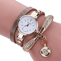 Inkach Women Leather Rhinestone Analog Quartz Wrist Watches Sport Watch Gift (Brown)