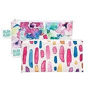Bumkins Reusable Snack Bag Small 2 Pack, Watercolor & Brushstrokes (GF)