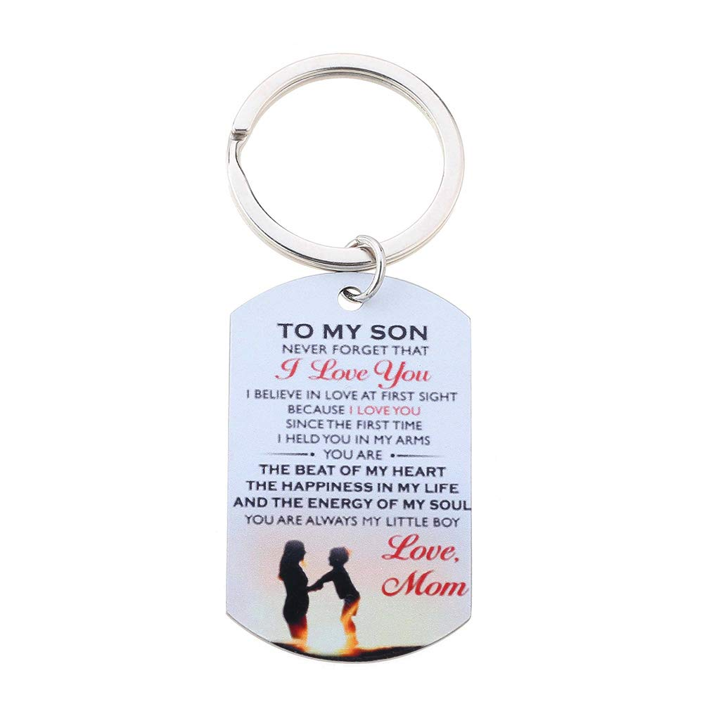 eroute66 to My Son I Love You Letter Military Dog Tag Pendant Necklace and Keychain Set 4#