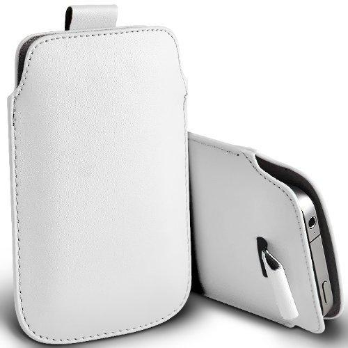 C63–Apple iPhone 4Premium morbido PU Pull Tab custodia flip–bianco