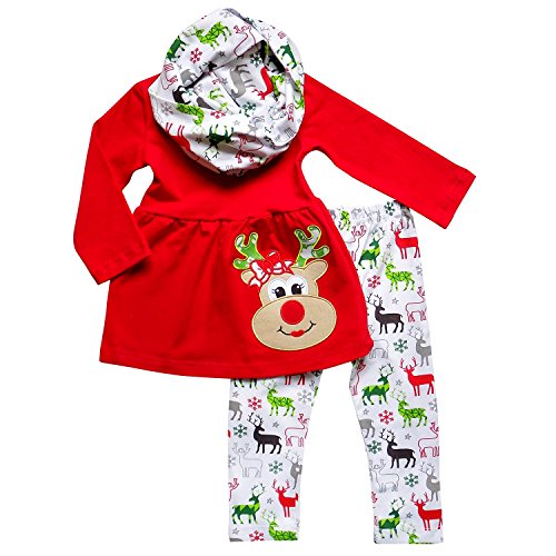 So Sydney Toddler Girls 3 Pc Fair Isle Christmas Reindeer Print Holiday Outfit (M (4T), Rudolph Red (Holiday Outfits For Toddler Girls)