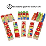 GLOGLOW 8pcs/Set Wooden Blocks Toys Geometric Shape Sorting Wooden Puzzles Chunky Jigsaw Learning Toys Montessori Teaching for Pre-Schoolers Kids Toddlers