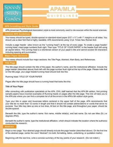 APA/MLA Guidelines (Speedy Study Guide)