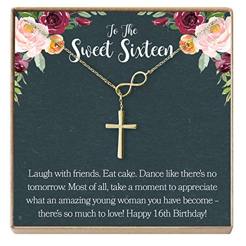 Dear Ava Sweet 16 Gift Necklace: Sweet Sixteen, 16th Birthday, Gift for Her, Infinity Cross (Gold-Plated-Brass, ()