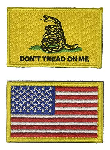 2 PCS Gadsden Don't Tread ON ME and US Flag Tactical Patch Military Morale Logo Theme History Flag Series Embroidered Iron on/Sew on Badge DIY Appliques ()