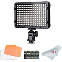 Tolifo Pt-176S LED Video Light Panel with F550 Battery, Dimmable Ultra Thin Digital Camera Camcorder Video Light for Studio Lighting