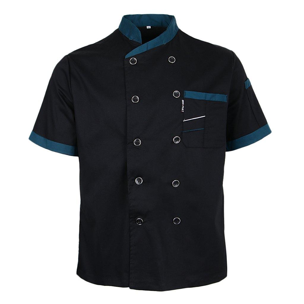 Black Prettyia Unisex Summer Breathable Executive Chef Jacket Coat Kitchen Bakery Uniform Short Sleeves 5 Colors Chef Apparel M-2XL L
