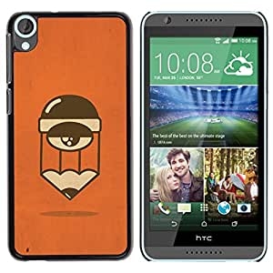 For HTC Desire 820 Case , Tired Sleepy Orange Cartoon Character - Diseño Patrón Teléfono Caso Cubierta Case Bumper Duro Protección Case Cover Funda