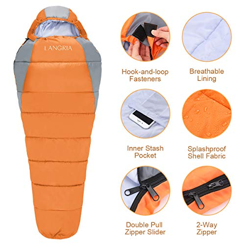 Outdoor Lightweight Adults Sleeping Bags for Traveling Sleepover Camping Backpacking Hiking Festival LANGRIA 3 Seasons Sleeping Bag with 2 Way Zipper /& Compression Bag