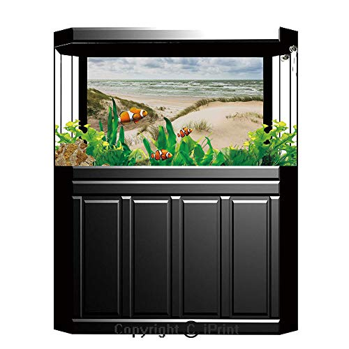 Terrarium Fish Tank Background,Beach,Windy Day in the Baltic Seaside in Lithuania Huge Grand Waves Tidal Flow Surfing Spot,Cream Blue,Photography Backdrop for Pictures Party Decoration,W48.03