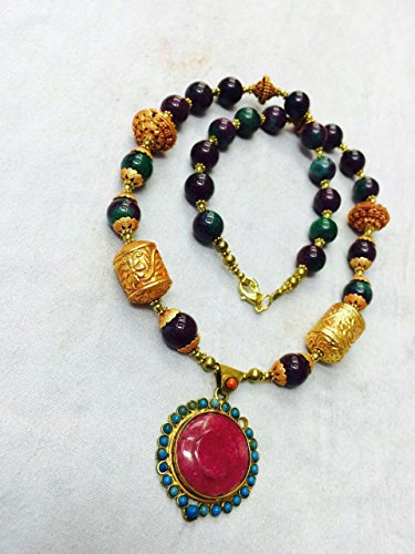 Afghan Gold Plated Beads with Ruby Zoisite Necklace Ethnic Regional Tribal Vintage Gypsy Hippie …