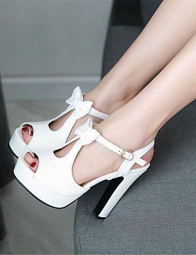 ShangYi Womens Shoes Leatherette Chunky Heel Heels / Peep Toe / Platform Sandals Office & Career / Blue / Pink / White Pink