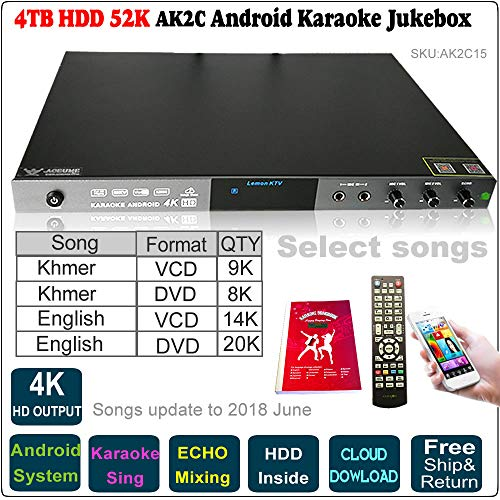 52k Players - 4TB 52K English VCD,DVD+Khmer VCD,DVD Songs Android Karaoke Player, Jukebox, Microphone Port, ECHO Mixing,Songs Update to 2018 June,Remote Controller,Songbook Included, AK2C