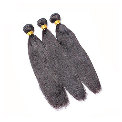 - Yaki Straight Human Hair Weave Bundles Brazilian Virgin Hair Light Yaki Natural Black Color 1 Piece LZY Hair Products 16