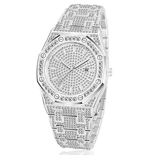 Mens Full Iced Out 43mm Big Face Bling Luxury Crystal Square Watches Fashion Hip Hop Jewelry Watch for Men