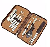 Queentools 11pcs Stainless Steel Nail Clipper Set Manicure Pedicure Set Grooming Kit with a Brown PU Leather Case for Tools