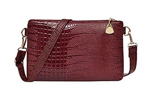 Bag Phone Purse Handbag Clutch Bag Shoulder Womens Messenger Cross Burgundy Pouch Ishua PU Body Luxury Leather nqvR0wHS