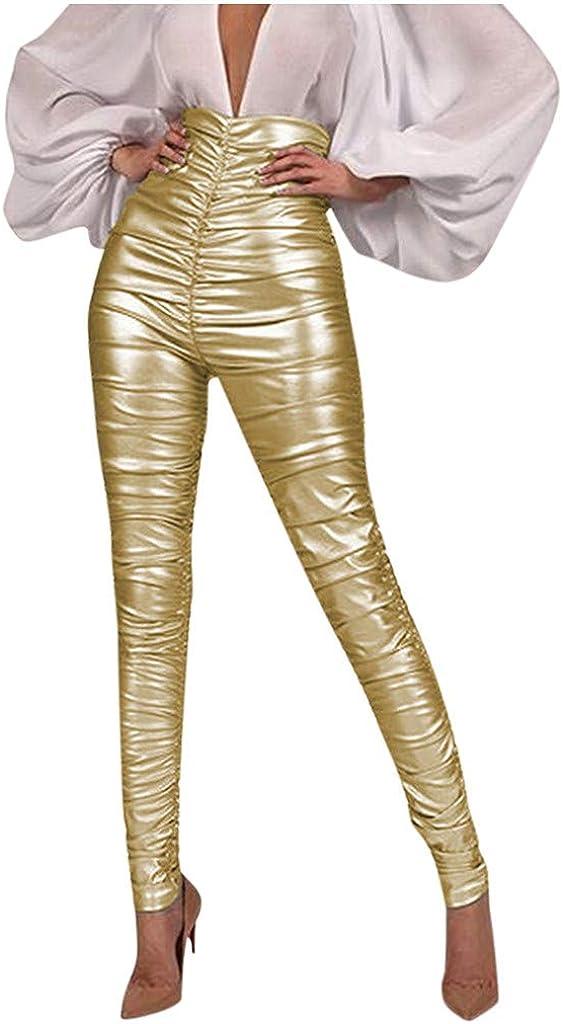 Pantalones Cuero para Mujer Invierno Push up Cintura Alta LuckyGirls 2020 Chic Pantalones Mujer Skinny Elasticos Brillante Sexy Leggins Mujer Vestir Pitillos Ajustado Elegantes