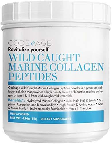 Codeage Marine Collagen Powder - Wild-Caught Hydrolyzed Fish Collagen Peptides - Type 1 & 3 Collagen Protein Supplement - Amino Acids for Skin, Hair, Nails - Paleo Friendly, Non-GMO, 16 Ounces