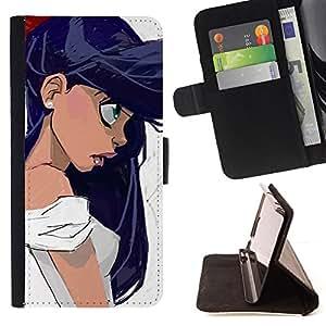 Jordan Colourful Shop - girl big hair black eyes portrait profile art For Sony Xperia Z2 D6502 - < Leather Case Absorci????n cubierta de la caja de alto impacto > -