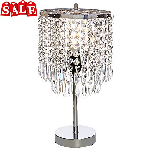 POPILION Creative Fashion Design Bedroom Bedside Crystal Table Lamp,Hand Picked Crystal Photo #1