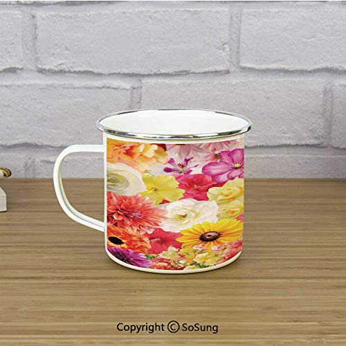 House Decor Enamel Camping Mug Travel Cup,Colorful Flowers Dahlia Botanical Cheering Happiness Sunny Day Illustration,11 oz Practical Cup for Kitchen, Campfire, Home, Travel