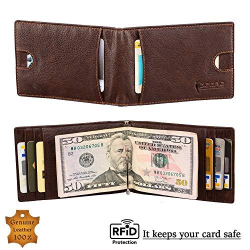 Picchio Men's Vintage Range RFID Blocking Compact Minimalist Bi-Fold Money Clip Front Pocket Wallet. Has 2 Notches for easy Card Access
