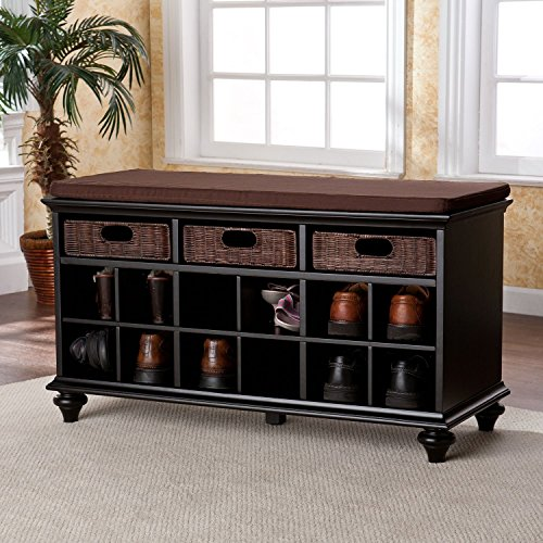 Entryway Bench with Shoe Storage Features 3 Rattan Drawers and 12 Shelves Bastian 21.75'' H Black Finish by SEI