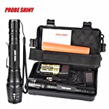 JPOQW(TM 8000LM X800 XML T6 LED Zoomable Tactical Military Flashlight+2x18650 Batteries+1xBattery Charger+1xNylon Pouch+1xSolar Power Torch Key Chain+1xFluorescent Sticks+1xBox (Ship from US)