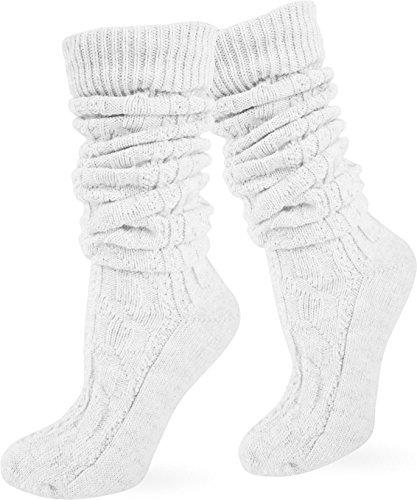 Oktoberfest Trachtensocken Kniebundhosenstrümpfe Natur mit Leinen Farbe Weiß lang Größe 43/46