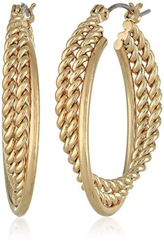 Napier Urban Links Gold-Tone Twist Hoop Earrings