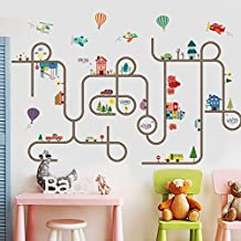 The Cute Cartoon Road & Cars Kids Room Wall Decal Art-DIY City Car Circled Curved Road Peel and Stick Nursery Playroom Removable Stickers - by IceyDecaL