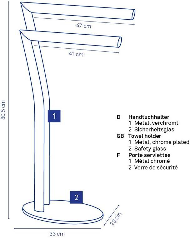 hauteur 80,5 cm Kela 21881 porte-serviettes Seven m/étal chrom/é et verre noir