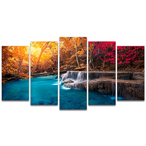 Visual Art Decor 5 Pieces Blue Lake in Autumn Forest Picture Wall Art Red Tree Nature Scenery Giclee Canvas Prints Ready to Hang for Modern Living Room Bedroom Office Decoration - Wall Tree Autumn Art