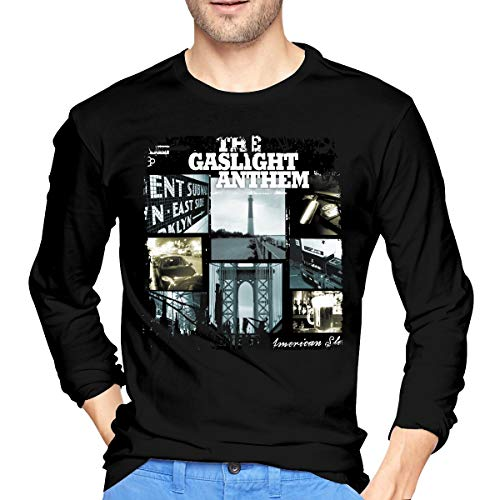 (LilianR The Gaslight Anthem American Slang Mens Long Sleeve T Shirts Black)