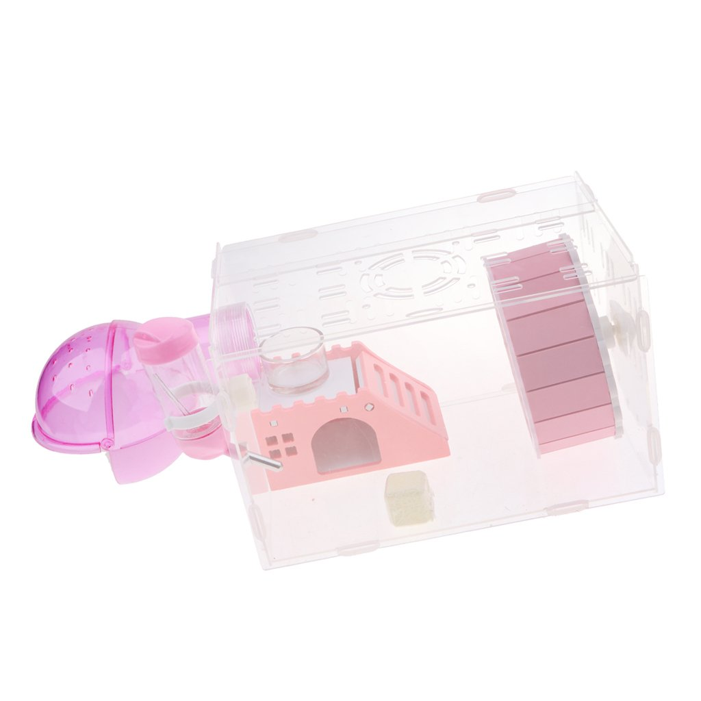 Pink as described Pink as described Baoblaze Eco Board Pet Hamster Slide Stairs Small Animals Villa Bedding Cage House Nest with Spinning Bottle (bluee, Pink) Pink, as described
