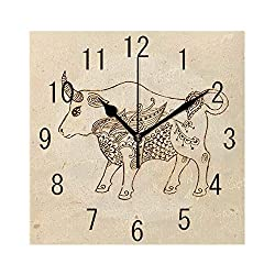 YABABY Square Wall Clock Battery Operated Quartz Analog Quiet Desk 8 Inch Clock, Hand Drawn Bull with Ethnic Ornaments Vintage Antique Tribal Design