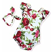 Oklady Newborn Baby Girls Clothes Outfits Floral Jumpsuit Romper Playsuit + Headband Set(6-12 Months)