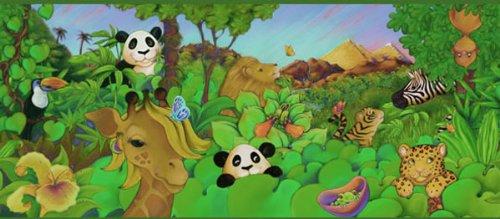 (Sure Strip Cartoon Jungle Animals Prepasted Wallpaper Border Roll)