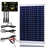 SUNER POWER [Upgraded] 20 Watts 12V Off Grid Solar Panel Kit - Waterproof 20W Solar Panel + Photocell 10A Solar Charge Controller with Work Time Setting + SAE Connection Cable Kits