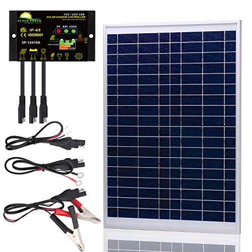 SUNER POWER [Upgraded] 20 Watts 12V Off Grid Solar Panel Kit - Waterproof 20W Solar Panel + Photocell 10A Solar Charge Controller with Work Time Setting + SAE Connection Cable Kits (Best 12 Volt Solar Panels)