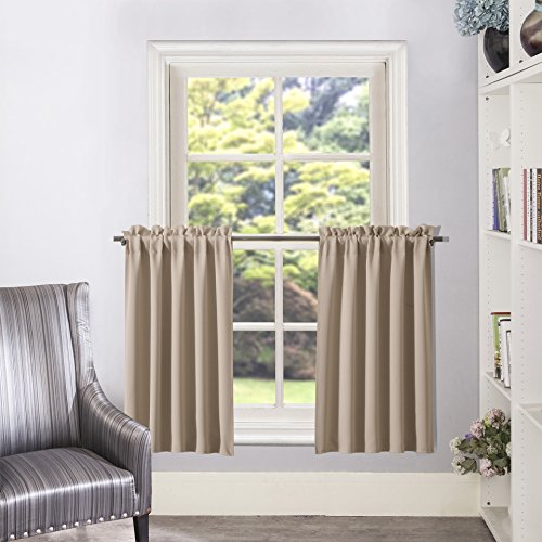 Blackout Window Treatment Curtain Tier Window Drapery Room Darkening Valance for Living Room Decoration, 1 Pair, 28x36 Inches, Taupe/Khaki