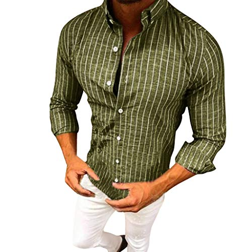 Bsjmlxg 2019 Spring and Summer New MensStriped Lapel Formal Daily Casual Classic Long Sleeve Shirt Tops Blouse Green