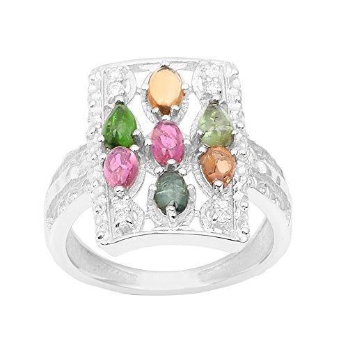 Gemstone Tourmaline Ring (Shine Jewel Classic Multi Tourmaline Shiny Gemstone 925 Sterling Silver Ring)