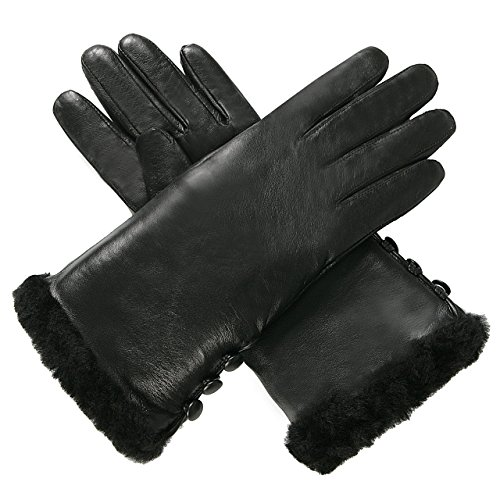 Luxury Lane Women's Shearling Fur Trim Cashmere Lined Lambskin Leather Gloves - Tobacco L