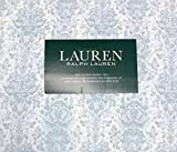 Ralph Lauren 4 Piece Queen Sheet Set - Slate Blue Floral Damask Pattern with Leaves on White, 100% Cotton
