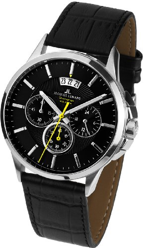 Jacques Watches Lemans Men - Jacques Lemans Sydney 1-1542A Men's Chronograph Black Leather Strap Watch