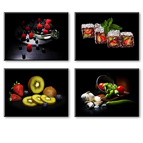 Kitchen Pictures Wall Decor, 4 Piece Set Colorful Fruits and Vegetables Canvas Wall Art, Cool Summer Canvas Prints for Dining Room (Waterproof Artwork, Bracket Mounted Ready Hanging, 1