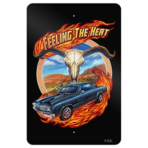 Graphics and More Hot Rod Muscle Classic Car Feeling Heat Steer Skull Home Business Office Sign - Metal - 18